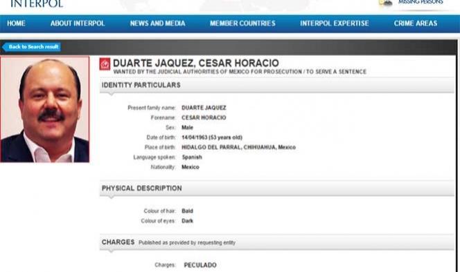 Emite Interpol ficha roja para captura de César Duarte