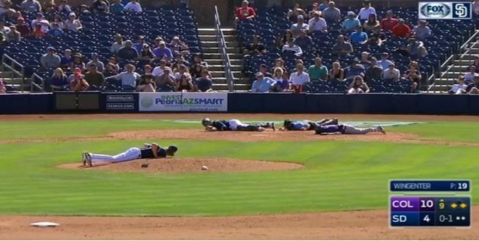 VIDEO: Jugadores se tiran al suelo ante un enjambre de abejas
