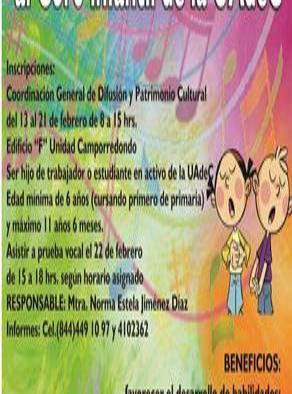 Invita UAC al Coro Infantil