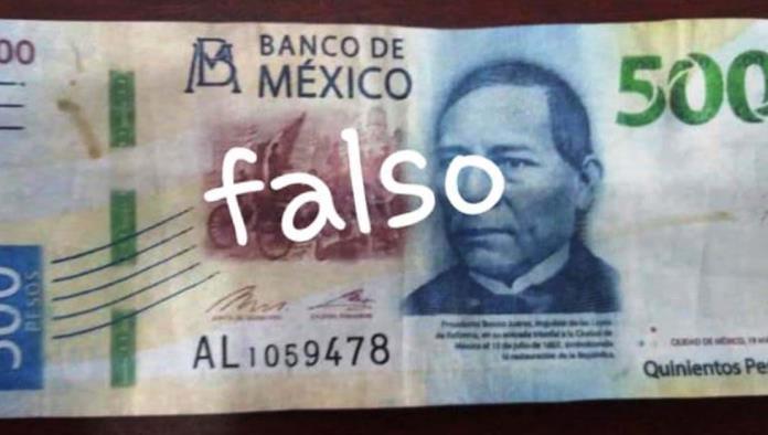 Detectan billetes falsos de 500 pesos