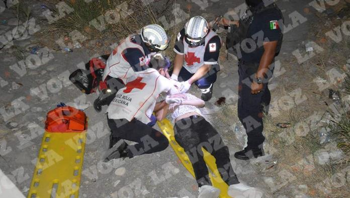 El lesionado terminó en el fondo del desagüe.