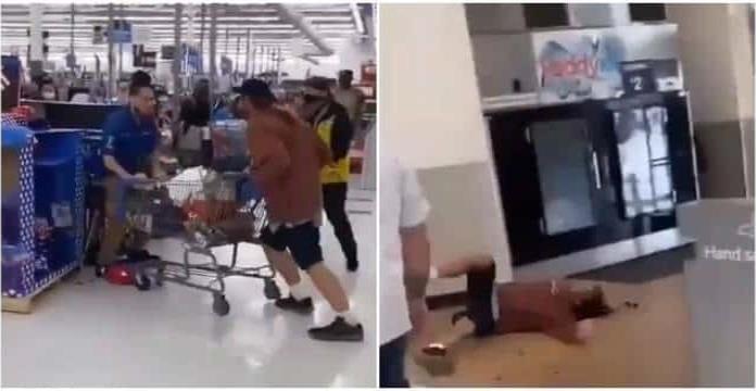 Cliente le escupe a empleado de Walmart; responde con un golpe y lo noquea