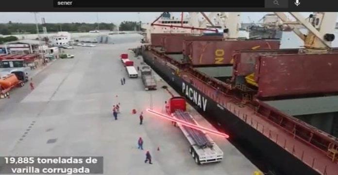 Secretaría de Energía descarga casi 20,000 toneladas de acero para refinería de Dos Bocas