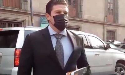 Samuel García se reúne con AMLO en Palacio Nacional; Mariana Rodríguez no lo acompaña