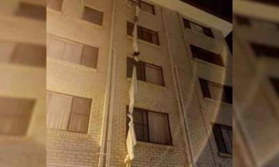 Escapa de cuarentena en hotel usando cuerda hecha con sábanas
