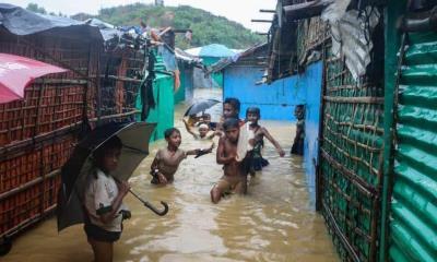 Diluvio destruye campamento de refugiaos en Bangladesh