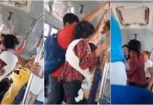 Madre con bebe en brazos se pelea con abuela en autobús