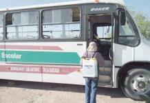 Sanitizan planteles educativos y transporte escolar de SB