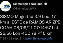 Sismo de magnitud 3.9 en Ramos Arizpe