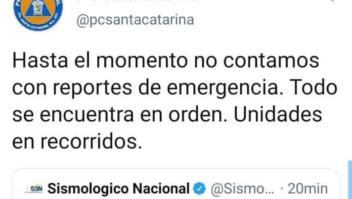 Sismo de 3.8 se percibe en Santa Catarina