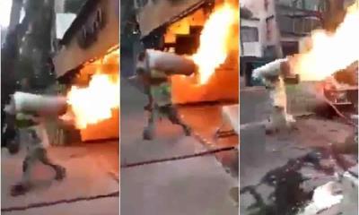 ¡Heroico!; Bombero de CDMX cargó tanque de gas en llamas