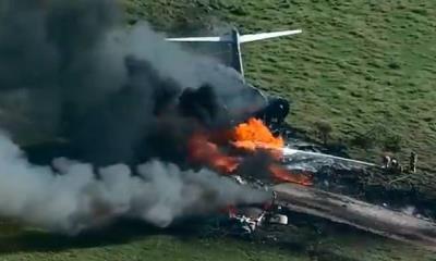 Se desploma avión en Houston; Sobreviven todos los pasajeros